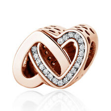 Rose Gold Entwined Love Hearts Charm Bead Genuine Sterling Silver 925 791880CZ