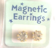 Crystal Earrings Studs MAGNETIC Gold Tone CHIC Fashion New GIFTS