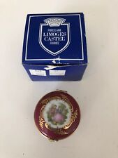 Limoges Castel France Trinket Jewelry Box Lid Porcelain Pink Bows Gold with box