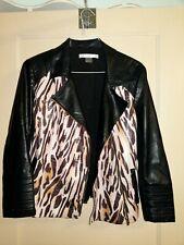 Peter Nygard Animal Print Faux Leather Jersey - Sz 12 petite - Moto Zip Jacket