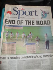 INDIA BEATS AUSTRALIA CRICKET THE AUSTRALIAN NEWSPAPER 3/16 2001 GREATEST TEST