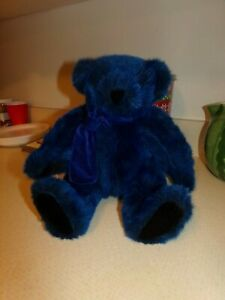 VERMONT TEDDY BEAR Plush BLUE WITHOUT YOU jointed Teddy BEAR Blue Fur & Bowtie.