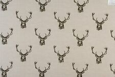 Fryetts Stags Charcoal 100 Cotton DESIGNER Curtain Blind Upholstery Fabric per Metre