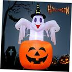 Halloween Inflatables 4.6ft Pumpkin Ghost with LED Light for Halloween