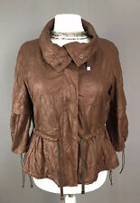 Zara Size L 18 Jacket Crushed Faux Leather Effect Brown Zip Up Blogger Style