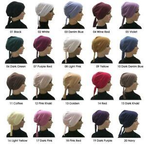 Stretchy Jersey String Tie Basic Inner Bonnet Hijab Cap Plain  Under Scarf Hat