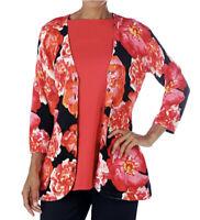 NEW Isaac Mizrahi Live! 3/4 Sleeve Floral Curved Hem Cardigan Sweater Size XS 1J