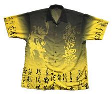 Koman Dragon Asian Character Yellow Button Up Shirt Sz. L