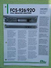 BSS FCS-916 FCS-926 FCS 920 DPR-901 II Prospects