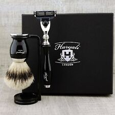 5Pcs Shaving Set Pure SilverTip Badger Brush & 3 Edge Razors Mens Christmas Gift