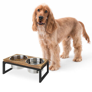 MyGift Burnt Wood and Black Metal Pet Bowl Dog or Cat Elevated Feeder with Bowls