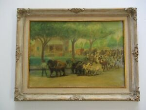 ROBERT BARBOUR JOHNSON PAINTING VINTAGE ANTIQUE CIRCUS STREET REGIONALISM OLD