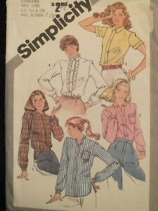 Lovely VTG 81 SIMPLICITY 5208 Jr Teens Set of Shirts PATTERN 5/6 & 7/8 UC