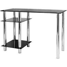HARTLEYS BLACK GLASS COMPUTER DESK & BASE UNIT SHELF OFFICE TABLE PC WORKSTATION