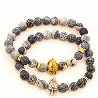 Charm Men's Black Lava Stone Spartan Helmet Bracelet Beaded Bracelet Cheapest