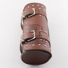 Brown Motorcycle Motorbike Tool Roll Bag Faux Leather Round Barrel Universal