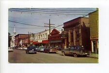 Old Postcard, Nova Scotia, Antigonish Main Street view, old cars, bank, pharmacy