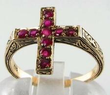 VINTAGE INS 9K 9CT GOLD INDIAN RUBY RELIGIOUS CROSS CRUCIFIX RING FREE RESIZE