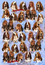 Basset Hound Dog Christmas Wrapping Paper - by Starprint - Auto combined postage