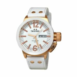 newstuffdaily: NIB TW STEEL CE1035 CEO Canteen 45MM White Dial/Strap Watch
