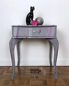 Light Grey Side Table with Drawer, and Graffiti Style Paint Splattered Effect
