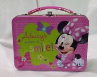 Minnie Mouse Metal Tin Sm Lunch Box Carry All Storage Gift Bag Case Party Favor