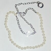 Signed Mary Kay white faux pearl silver tone chain toggle clasp necklace