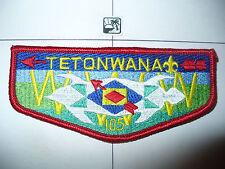 OA Tetonwana Lodge 105 S5,WHT Turtle,LYL,CD Flap,RARE,460,Sioux Falls Council,SD