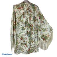 Entro Gypsy Boho Festival Sheer Floral Fringe Kimono Robe Jacket Top M Medium