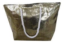 Lorenz grande Metálico efecto tejido oro plata vacaciones bolso de playa bronce