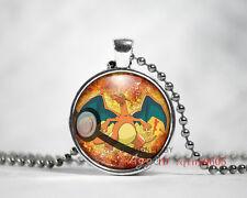 New 1pcs Charizard Pendant Pokemon Pokeball Glass Necklace