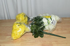 Set Of 4- Admired By Nature 18 Stems Artificial Full Bloom Rose-Yellow and White
