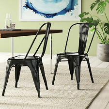 Modern Set of 4 Armless Metal Dining Chairs Cafe Kitchen Side Stackable, Black