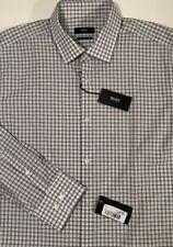 NWT HUGO BOSS Men's JENNO WHITE CHECK L/S SLIM FIT DRESS SHIRT Size 16.5/42