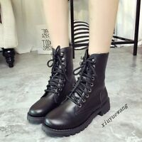 Womens PU Leather Lace Up Ankle Boots Shoes Low Block Heel Combat Riding Boots #