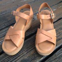 Korks Kork Ease Brown Wedge Platform Sandals Womens 9 EU40.5 Leather Heels Shoes