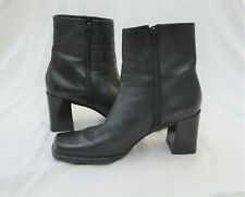 Vintage 90s Black Leather Square Toe Chunky Heel Side Zip Ankle Boots 7M