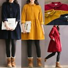 Retro Women Loose Casual Long Sleeve Corduroy Dress Short Mini Dresses Plus Size