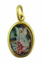 Gold Tone Catholic Guardian Angel Crossing Bridge Saint Medal Pendant, 1 Inch