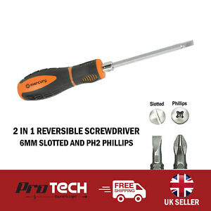 2 in 1 Dual End Reversible Soft Grip Screwdriver 6mm Slotted Flat Head Phillips