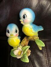 Vintage Lefton Bluebird Figurines on Branch Blue Bird Norcrest 1950s Japan