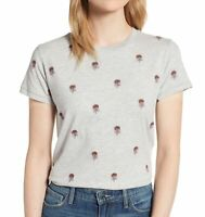 Lucky Brand Womens T-Shirt Gray Size Small S Floral-Embroidered Crewneck $49 169