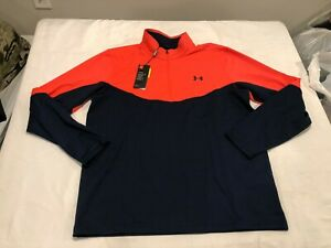 NWT $75.00 Under Armour Mens CG Golf Midlayer 1/2 Zip Shirt Navy / Coral LARGE