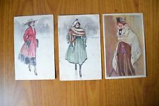 LOTTO 3 CARTOLINE ILLUSTRATORE MAUZAN FIRMATE DONNE CON CAPPELLO SUBALPINA W