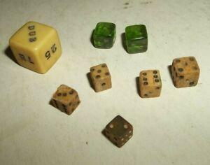 7 Vtg Miniature Dice + Game Die