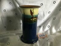 Torquay Ware Watcombe Vase With Hand Painted Sailing Boat