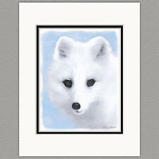 Arctic Fox Original 8x10 Art Print Matted to 11x14