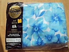 Vtg Wabasso Twin Fitted Sheet Blue Mod Flower Pattern New Old Stock 50% Cotton