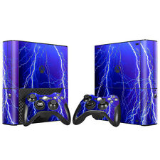 Xbox 360 E Console Skin Decal Sticker Thunder Lightning + 2 Controller Design