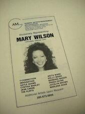 MARY WILSON the original Dream Girl 1982 music biz original promo advert